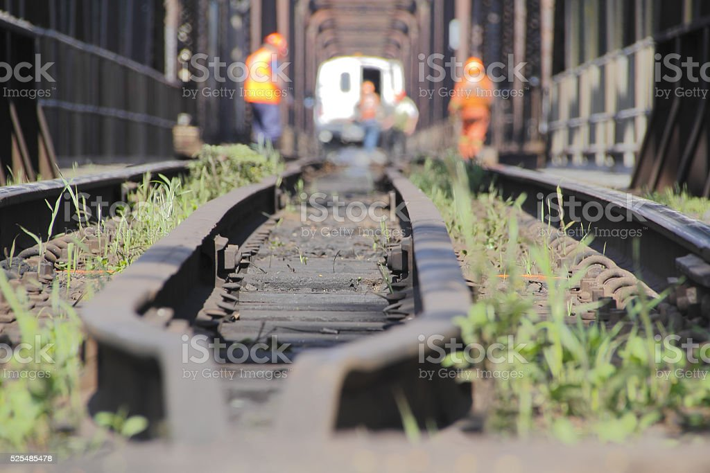 Train Track and Maintenance Crew stock photo