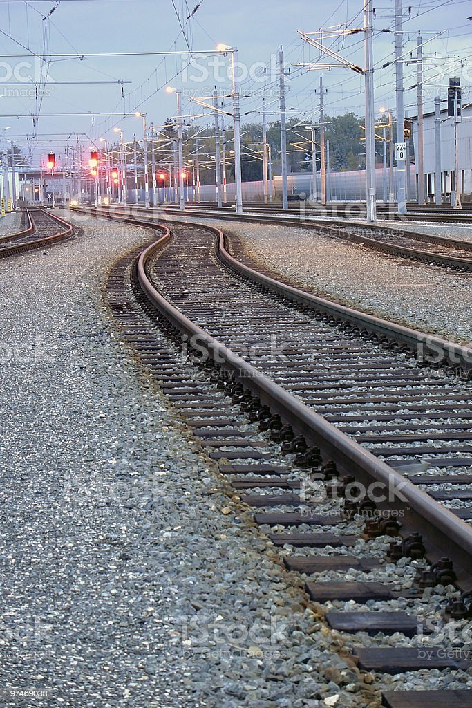 Train Track bend stock photo