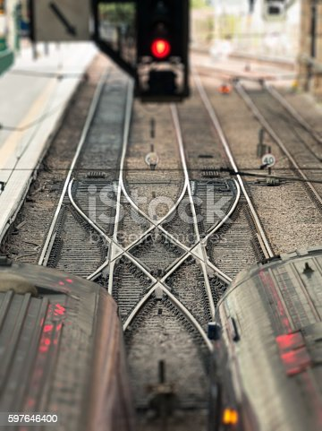 istock Train track points crossing 597646400