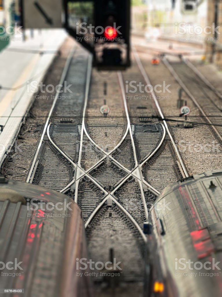 Train track points crossing stock photo