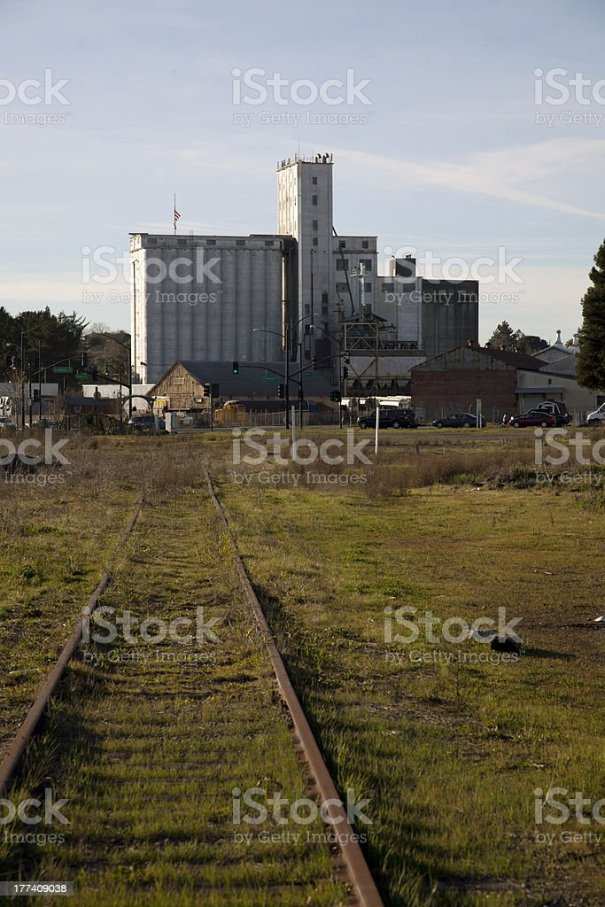Train Track to Petaluma Mill stock photo