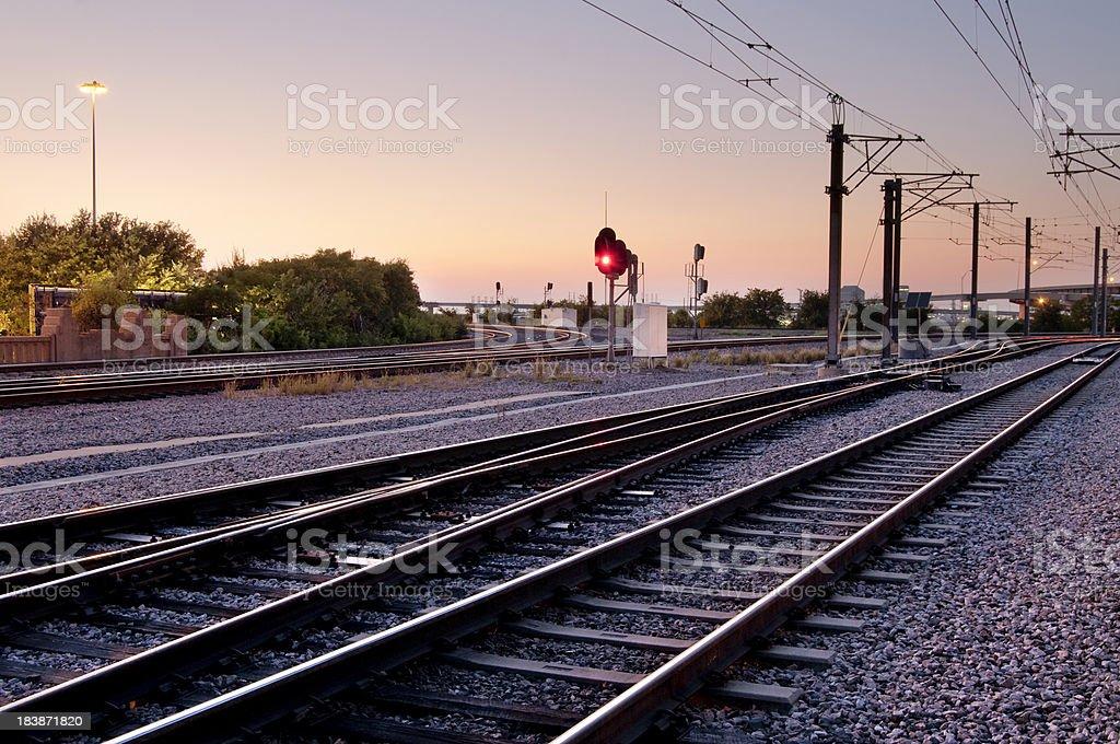 Train tracks at night royalty-free stock photo