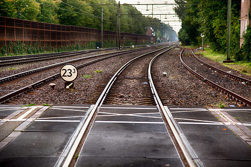 Train tracks in a station