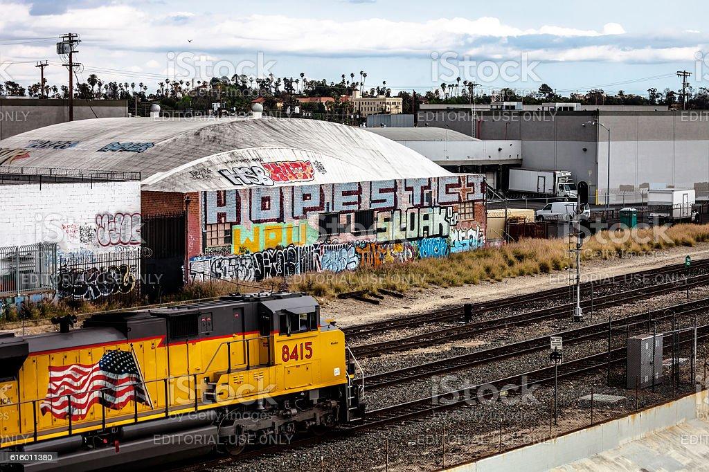 Train tracks in Los Angeles. stock photo