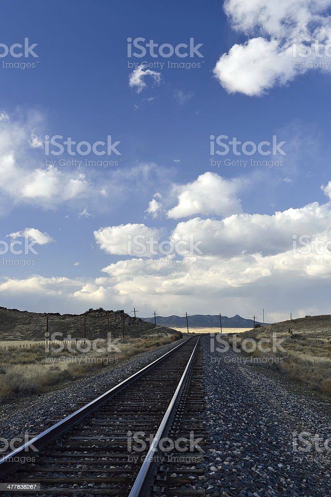 Train Tracks in New Mexico Landscape royalty-free stock photo
