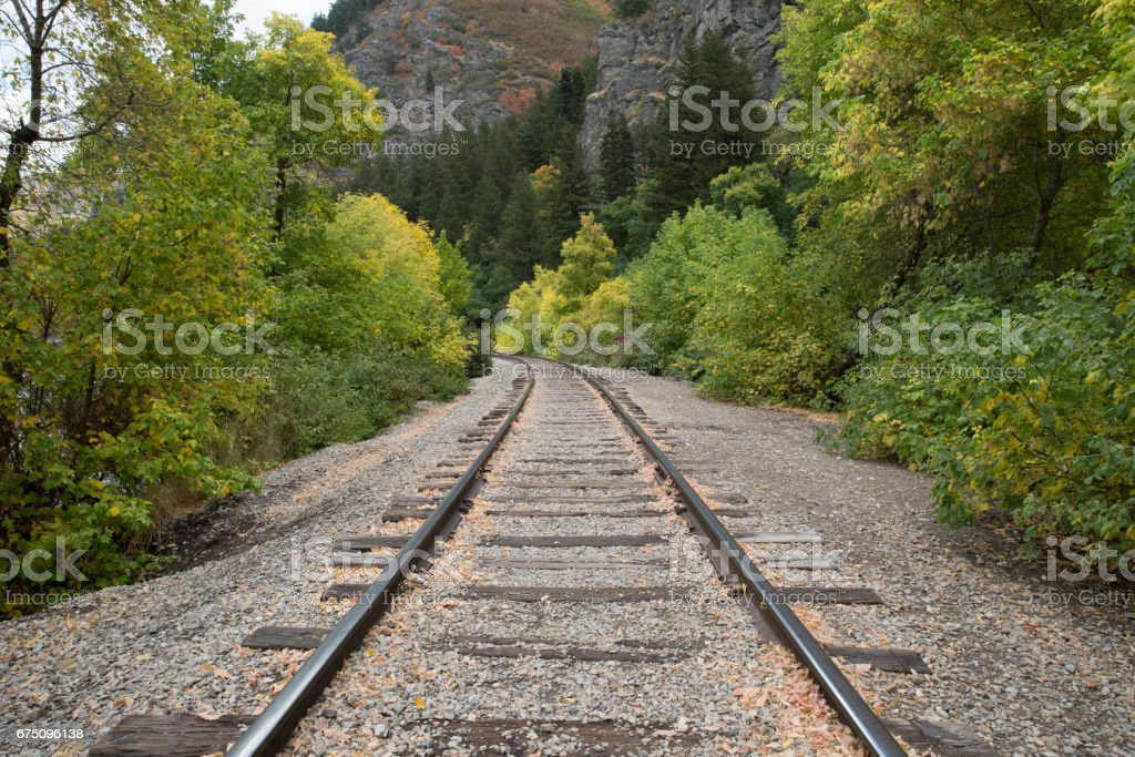 Train Tracks in the Mountains stock photo