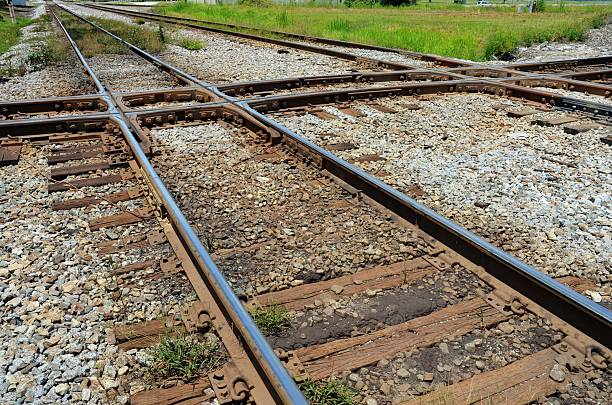 Train Tracks Intersecting stock photo