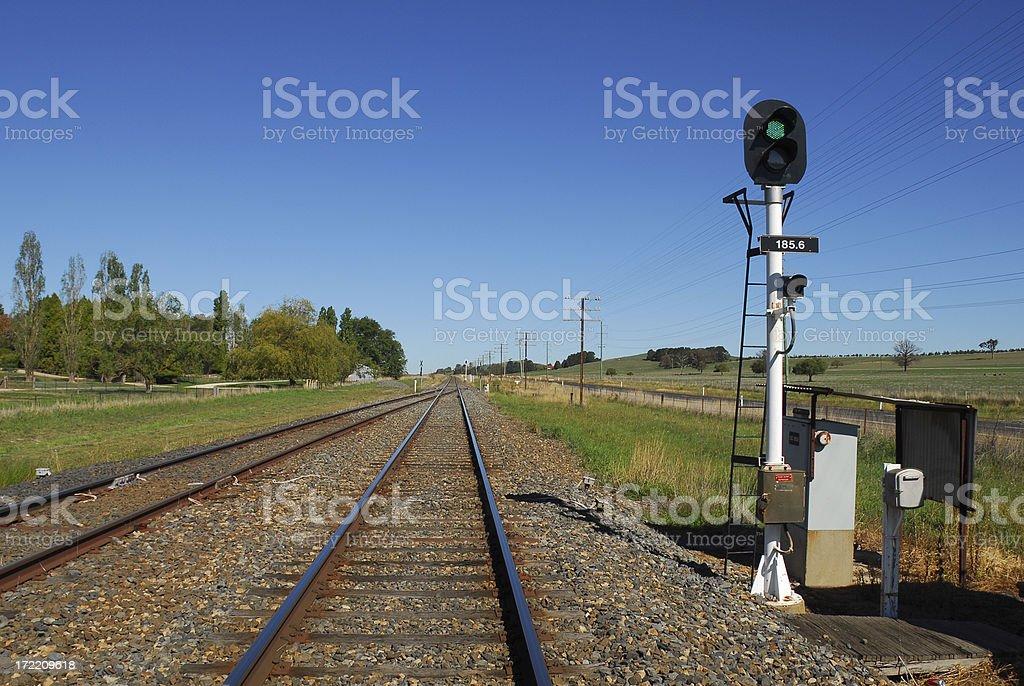 Train Tracks on a Sunny Day royalty-free stock photo