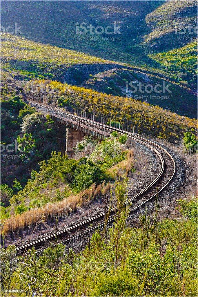 Train tracks over a bridge (Railway) stock photo