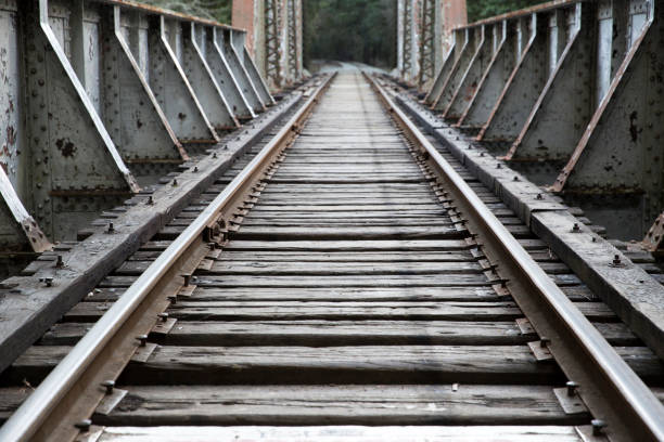 Train Tracks train tracks with diminishing perspective jude beck stock pictures, royalty-free photos & images