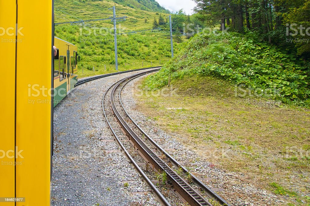 Train travel up the mountain royalty-free stock photo