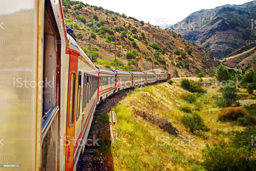 Train travelling from Ankara to Kars in turkey stock photo