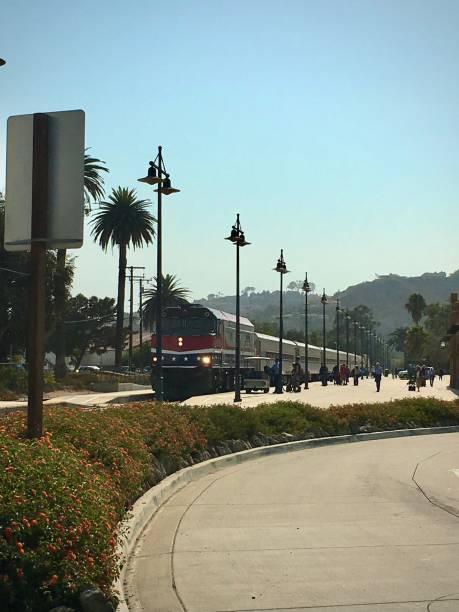 A train travelling through Santa Barbara. stock photo