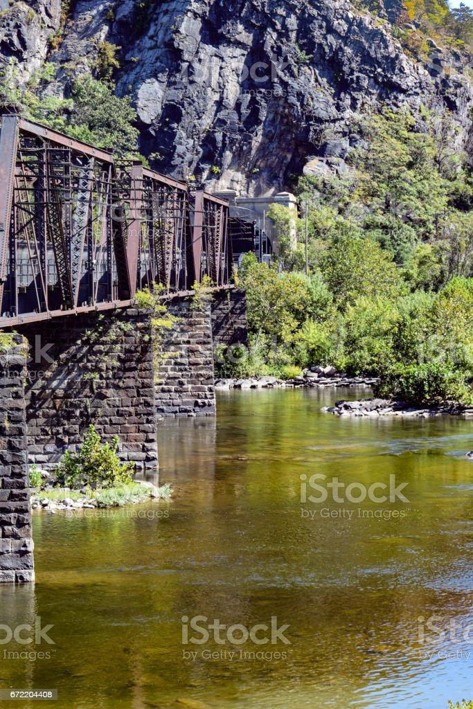 Train Trestle at Harper's Ferry stock photo