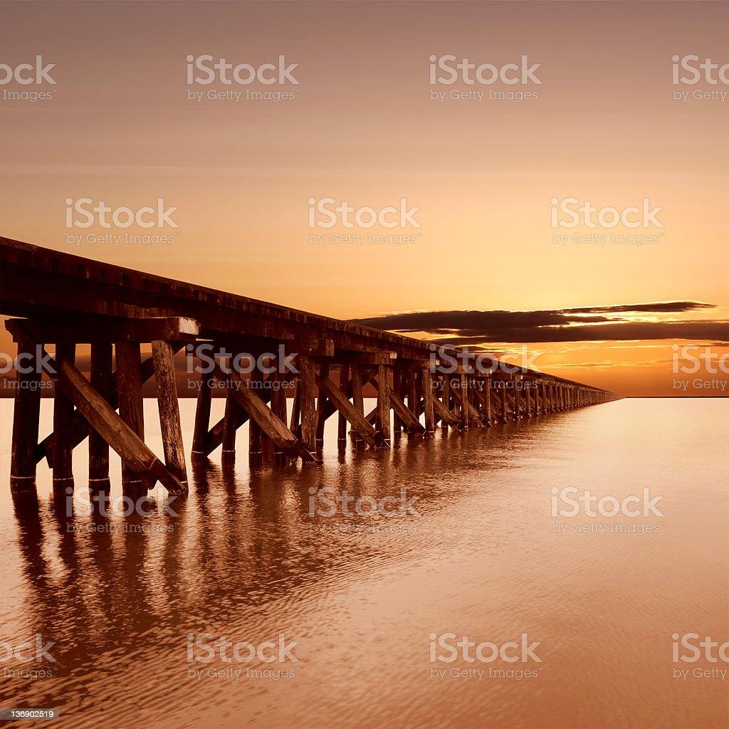 XL train trestle at sunset royalty-free stock photo