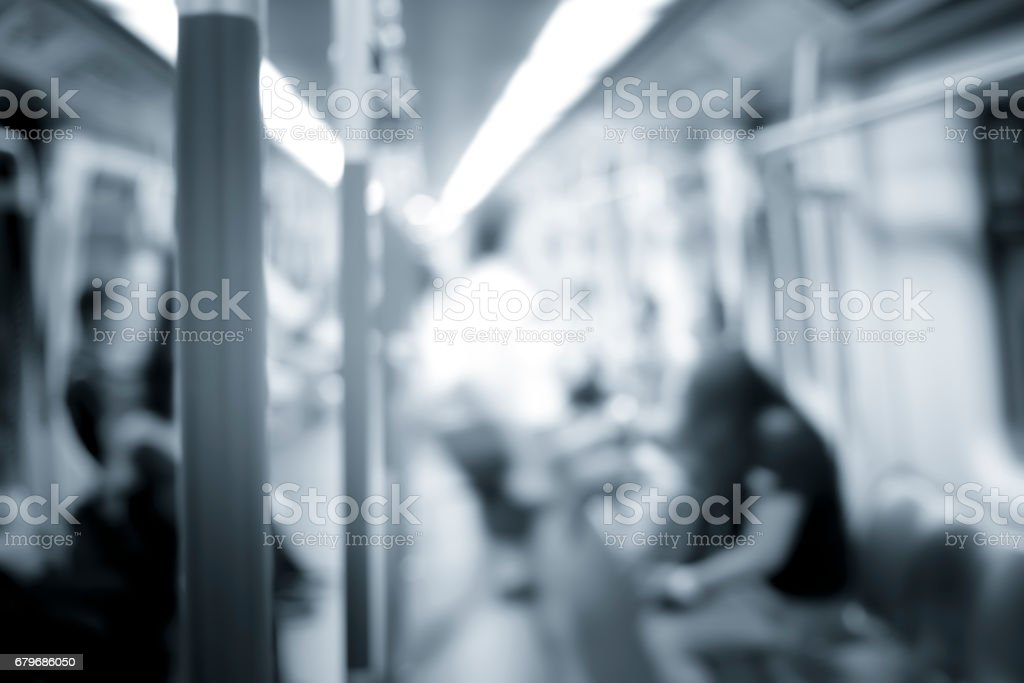 Train Tube station Blur people movement in rush hour with blue color