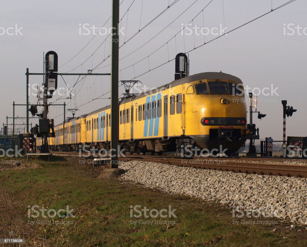 Train type Mat64 which is retired now on track close to Moordrecht stock photo