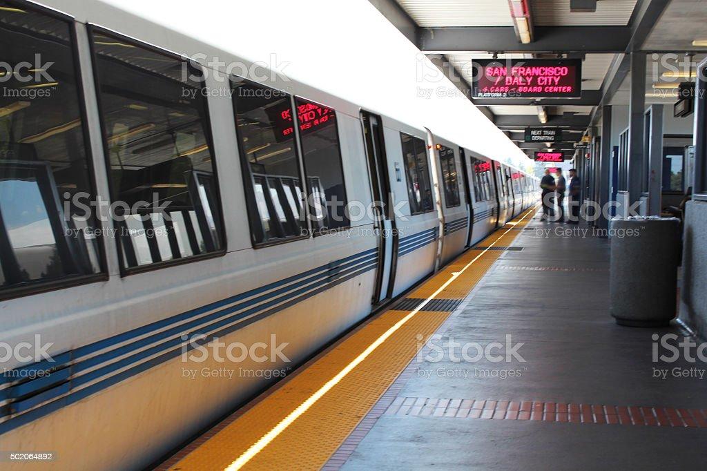 BART Train waiting at Station stock photo