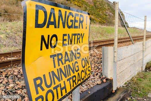Train Warning Sign: Danger, No Entry. Trains Running on Both Tracks.