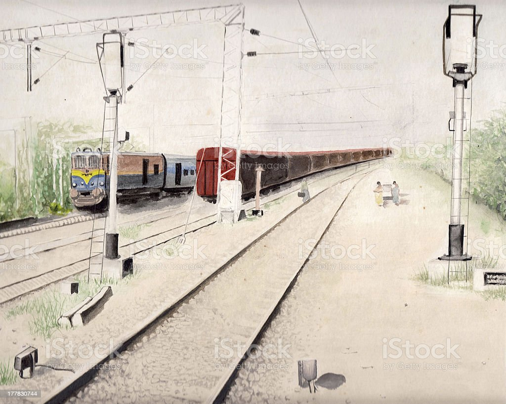 train watercolors  background painting royalty-free stock photo