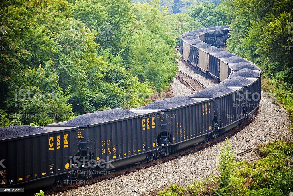 CSX Train Winding Through The Woods stock photo