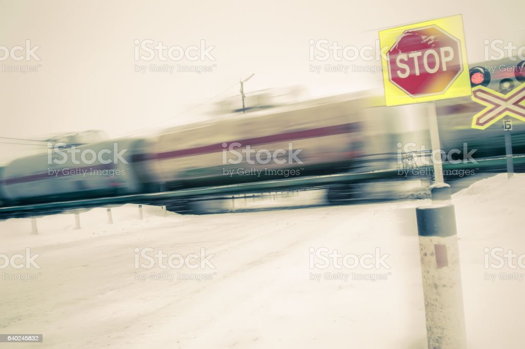 Train with oil tanks moving. stock photo