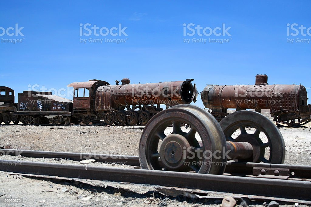 Train wreck in Uyuni, Bolivia royalty-free stock photo