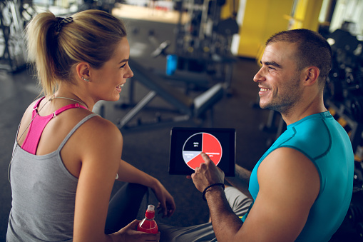 860045834 istock photo Trainer explaining workout regime to woman 874908056