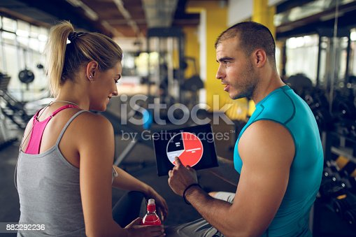 860045834istockphoto Trainer explaining workout regime to woman 882292236