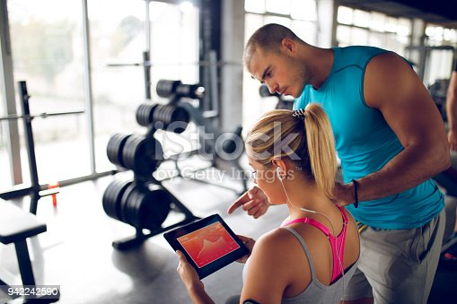 860045834istockphoto Trainer explaining workout regime to woman 942242590
