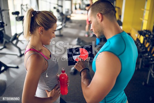 860045834istockphoto Trainer explaining workout regime to young sporty woman 875596560