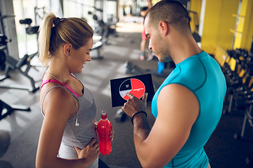 860045834 istock photo Trainer explaining workout regime to young sporty woman 875596560