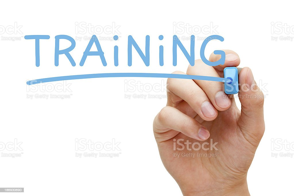 Training Blue Marker stock photo