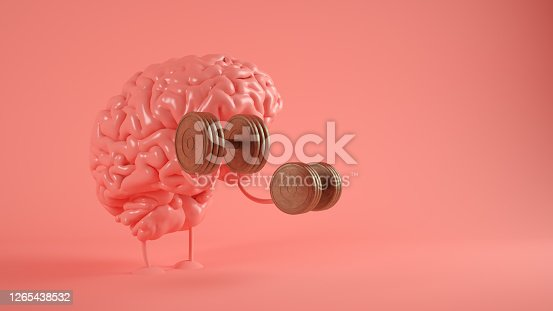Training brain on pink 3d rendering