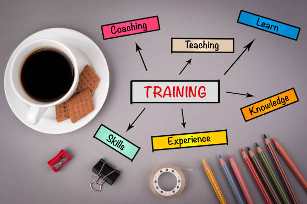 Training business concept for presentations. On gray stock photo