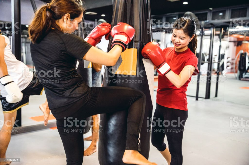 Training class at the boxing gym stock photo