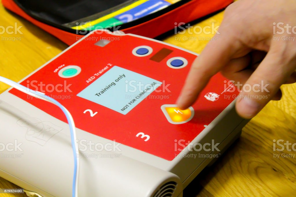 Training defibrillator in an exercise stock photo
