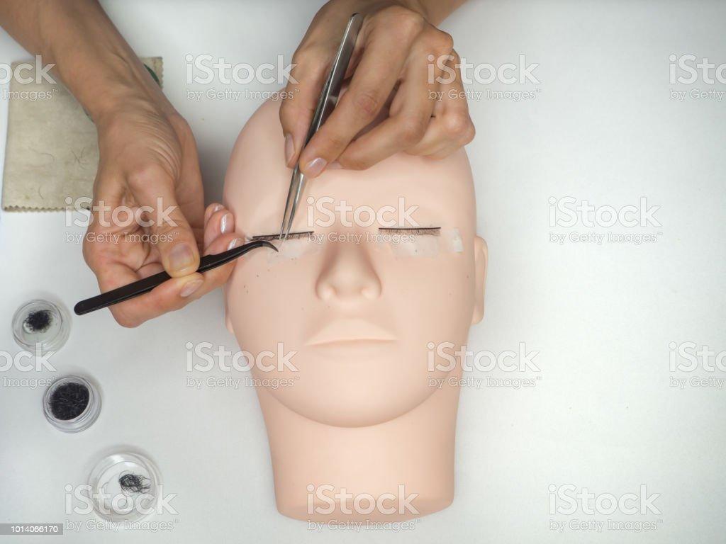 Training Eyelash Extensions Work On Coloring Eyelashes On A ...