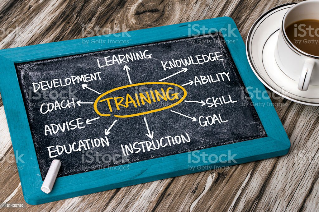 training flowchart hand drawing on blackboard stock photo