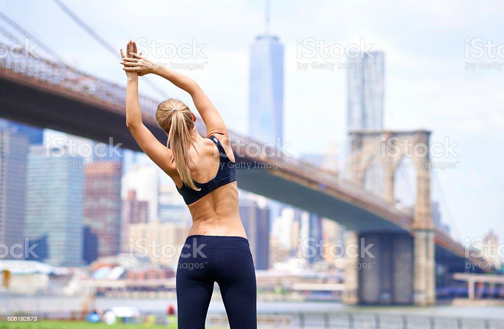 Training hard in the city stock photo