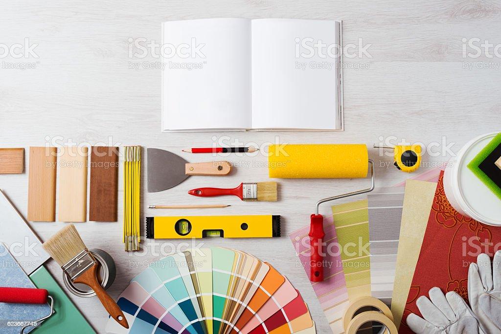 Delightful DIY Training Manual Stock Photo. Modern Interior Stock Photo
