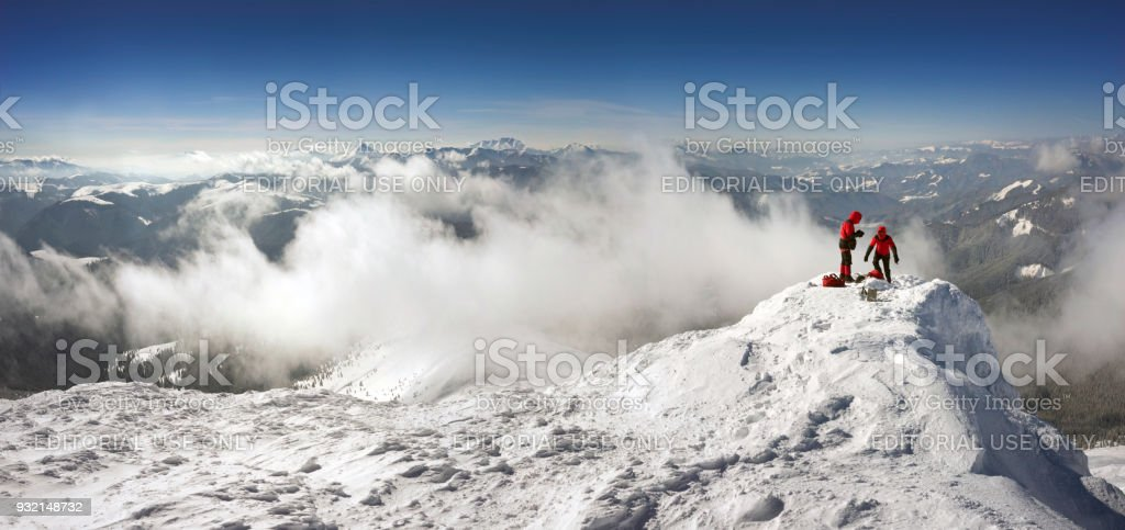 training of climbers on top stock photo