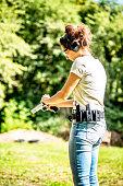 Training of shooting at a shooting range.
