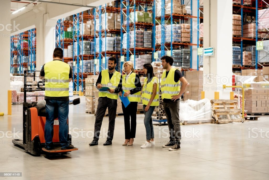 Training on a forklift stock photo