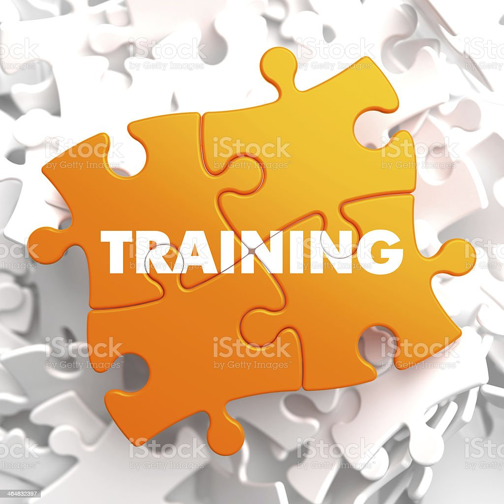 Training on Yellow Puzzle. Educational Concept. stock photo