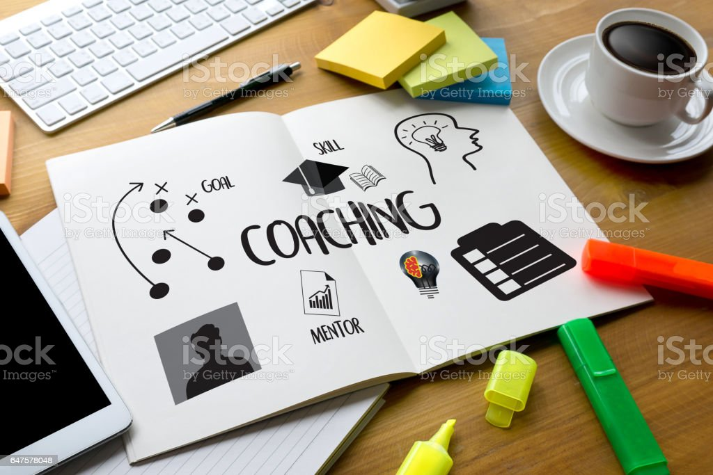 COACHING  Training Planning Learning Coaching Business Guide Instructor Leader vector art illustration