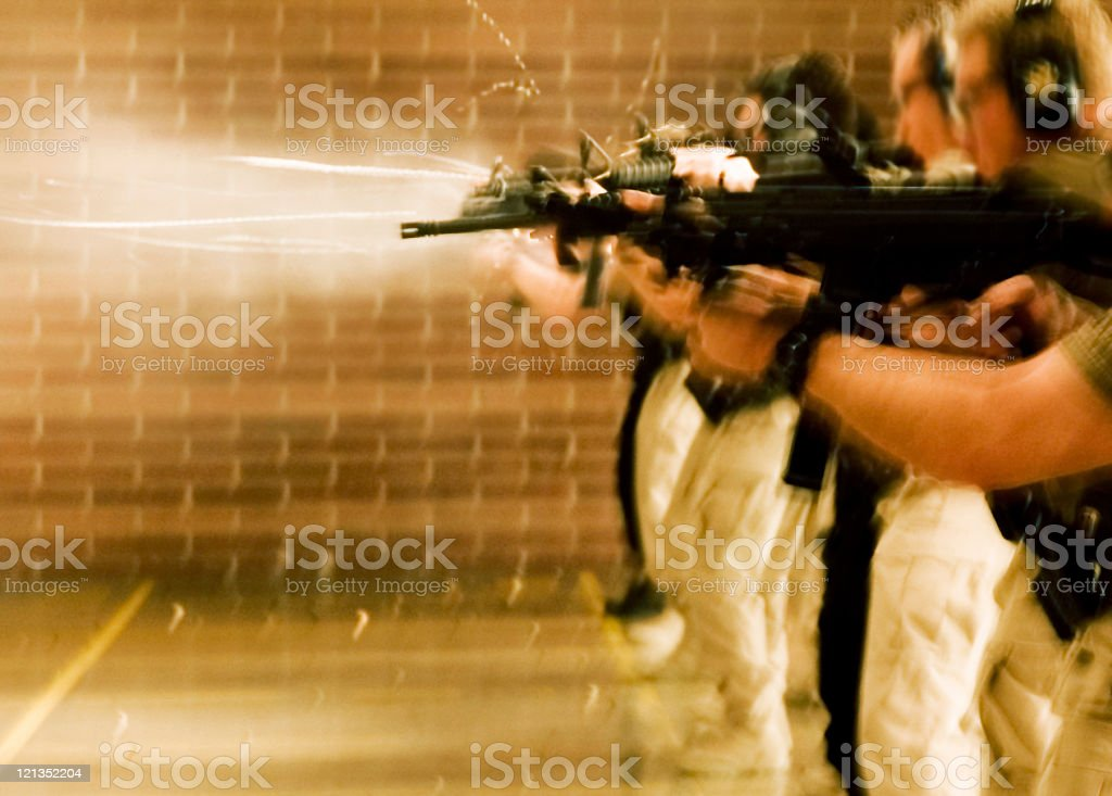 SWAT Training: shooting guns royalty-free stock photo