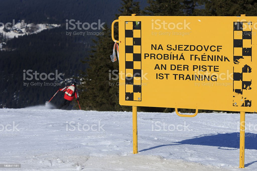 training sign on a ski slope in the Czech Republic stock photo