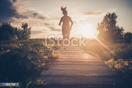 Running at sunrise.