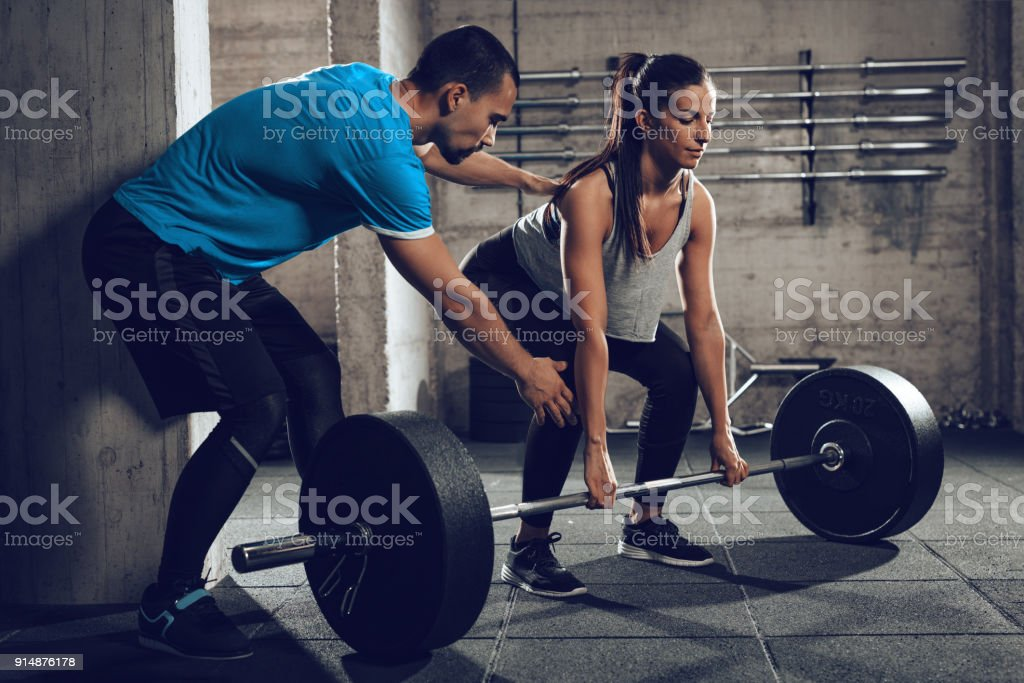 Training With A Personal Trainer stock photo